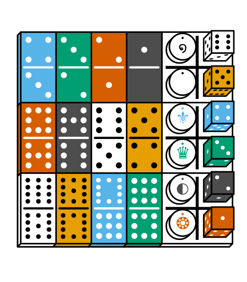 Double-12 dominoes and standard 6-sided dice
