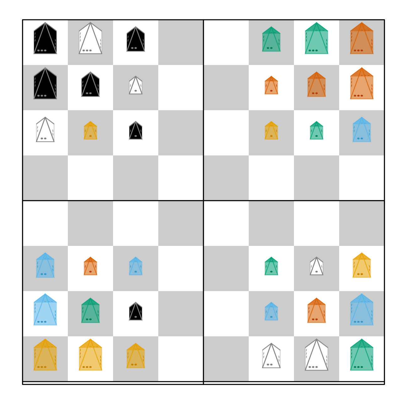 Setup for Andy Looney's Martian Chess (3D oblique)