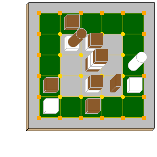 Tak game diagram with traditional pieces