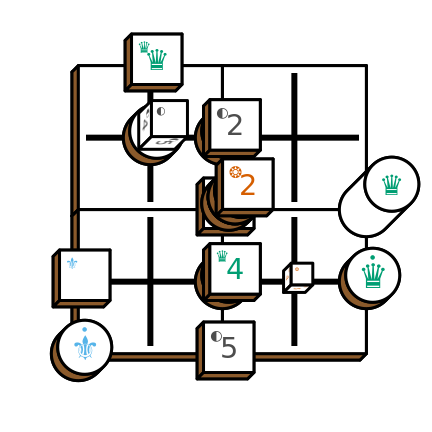 Tak game diagram with stackpack pieces